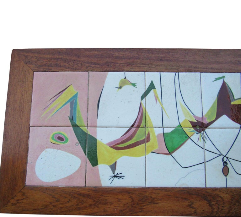 Exceptional Mid-Century Modern Art Tile Table, Italy, 1960s In Good Condition For Sale In Surprise, AZ