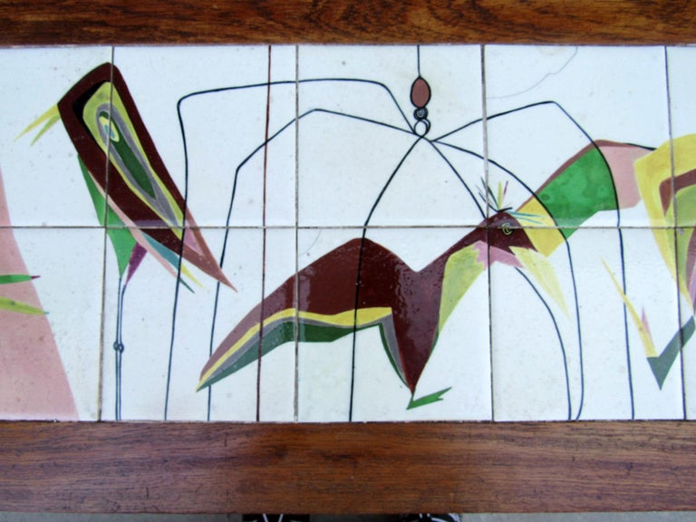 20th Century Exceptional Mid-Century Modern Art Tile Table, Italy, 1960s For Sale