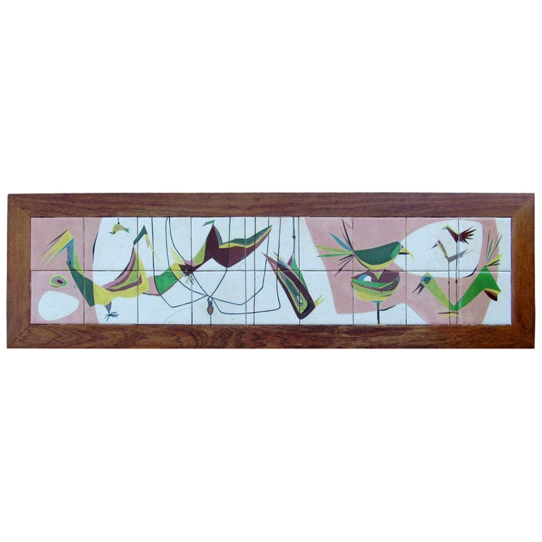 Exceptional Mid-Century Modern Art Tile Table, Italy, 1960s For Sale