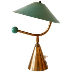 Exceptional Mid-Century Modern Brass Table Lamp, 1950s, France
