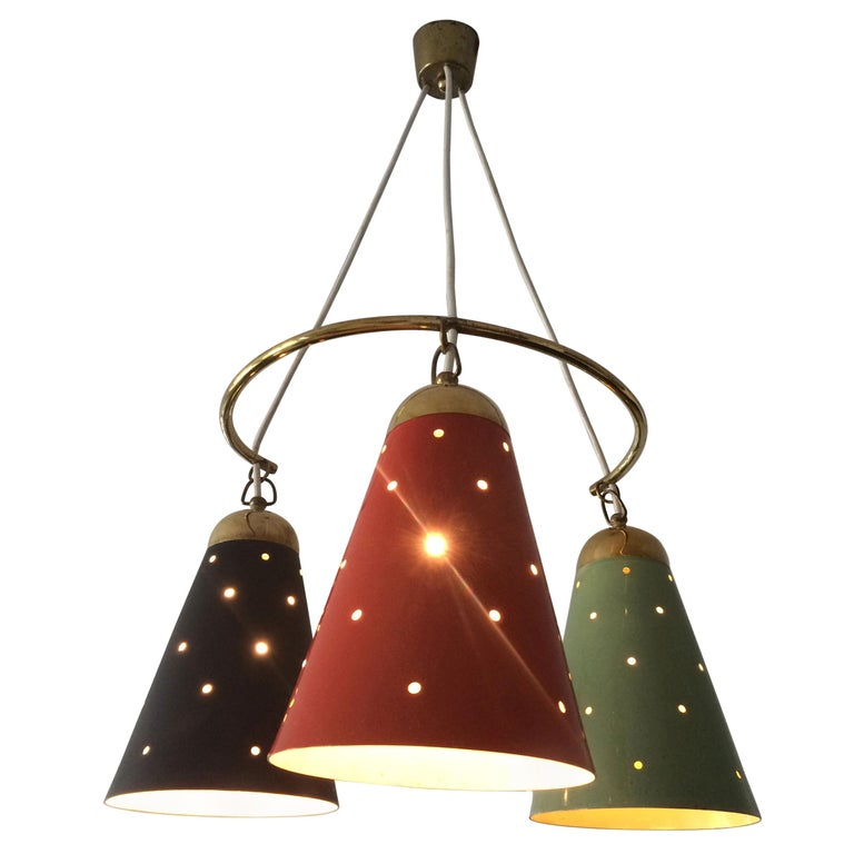 Exceptional Mid Century Modern Pendant Lamp Or Chandelier 1950s