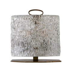 Exceptional Mid-Century Modern Table Lamp with Ice Glass Shade, 1950s, Italy