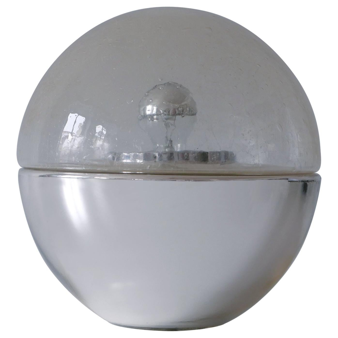 Exceptional Mid-Century Modern Textured Glass Globe Table or Floor Lamp, 1960s