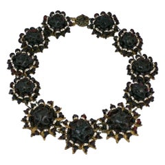 Exceptional Miriam Haskell Deep Ruby and Pave Rondel Collar