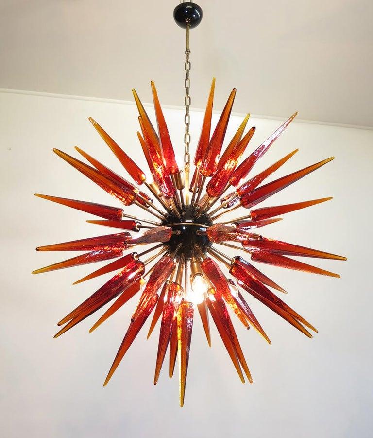 Exceptional Murano Amber Glass Sputnik Chandelier, 51 Glasses 4