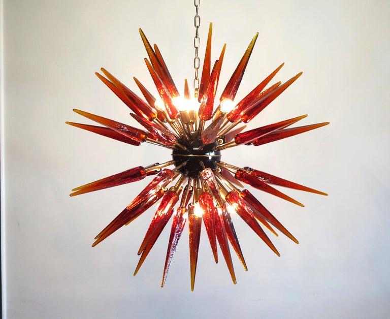 Mid-Century Modern Exceptional Murano Amber Glass Sputnik Chandelier, 51 Glasses