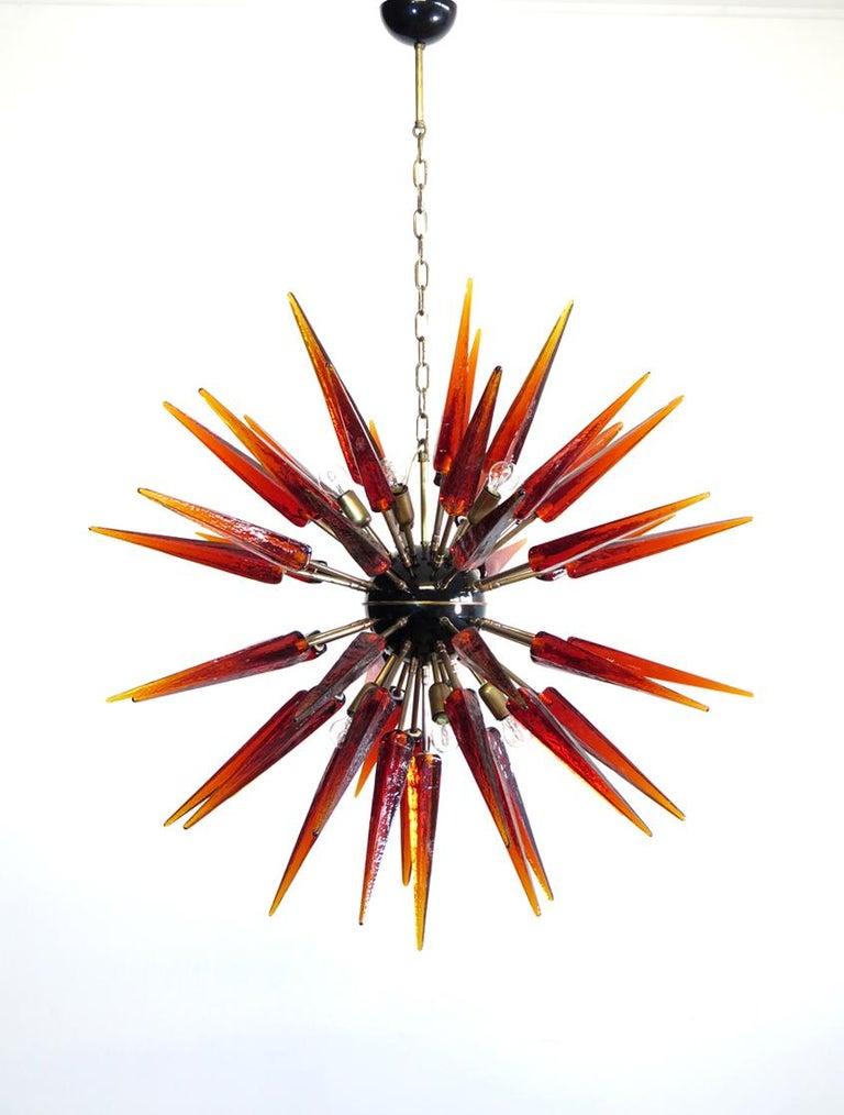 Italian Exceptional Murano Amber Glass Sputnik Chandelier, 51 Glasses