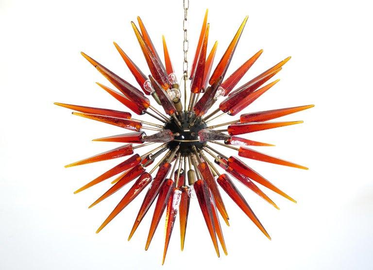 Exceptional Murano Amber Glass Sputnik Chandelier, 51 Glasses In Excellent Condition In Gaiarine Frazione Francenigo (TV), IT
