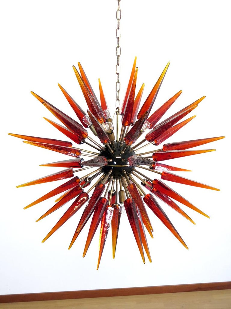 Late 20th Century Exceptional Murano Amber Glass Sputnik Chandelier, 51 Glasses