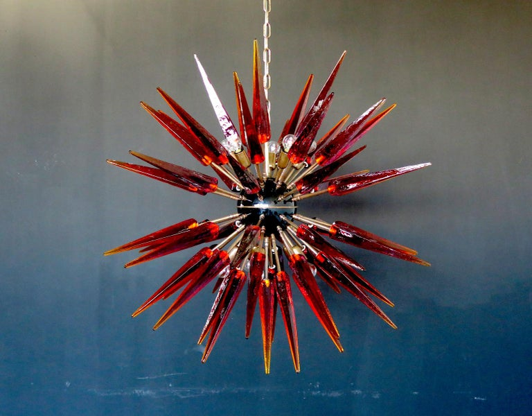 Blown Glass Exceptional Murano Amber Glass Sputnik Chandelier, 51 Glasses