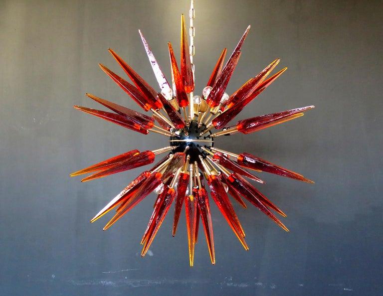 Exceptional Murano Amber Glass Sputnik Chandelier, 51 Glasses 2