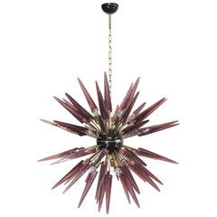 Exceptional Murano Amethyst Glass Sputnik Chandelier, 51 Glasses