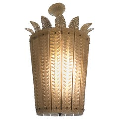 Exceptional Murano Chandelier, Lantern White /Gold Murano Glass with Crown