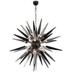 Exceptional Murano Trasparent and Black Glass Sputnik Chandelier, 51 Glasses