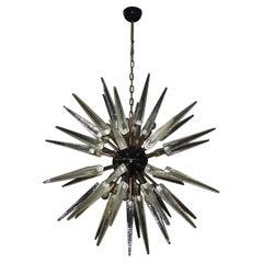 Exceptional Murano Trasparent Glass Sputnik Chandelier, 51 Glasses