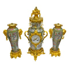 Exceptional Napoleon III Chinese Famille Rose and Gilt Bronze Clock Garniture