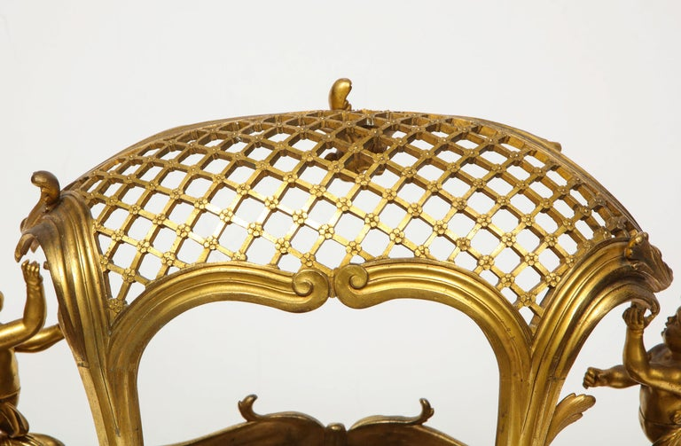 Exceptional Napoleon III French Ormolu Fireplace Log Cradle Holder, Centerpiece For Sale 6