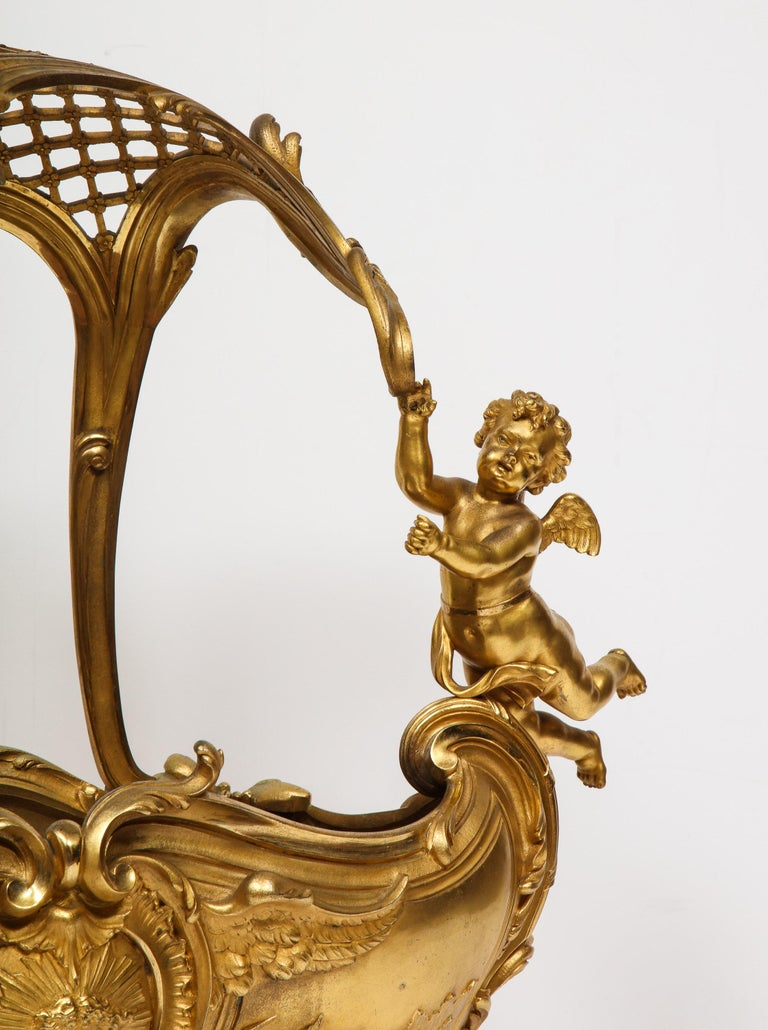 Exceptional Napoleon III French Ormolu Fireplace Log Cradle Holder, Centerpiece For Sale 2