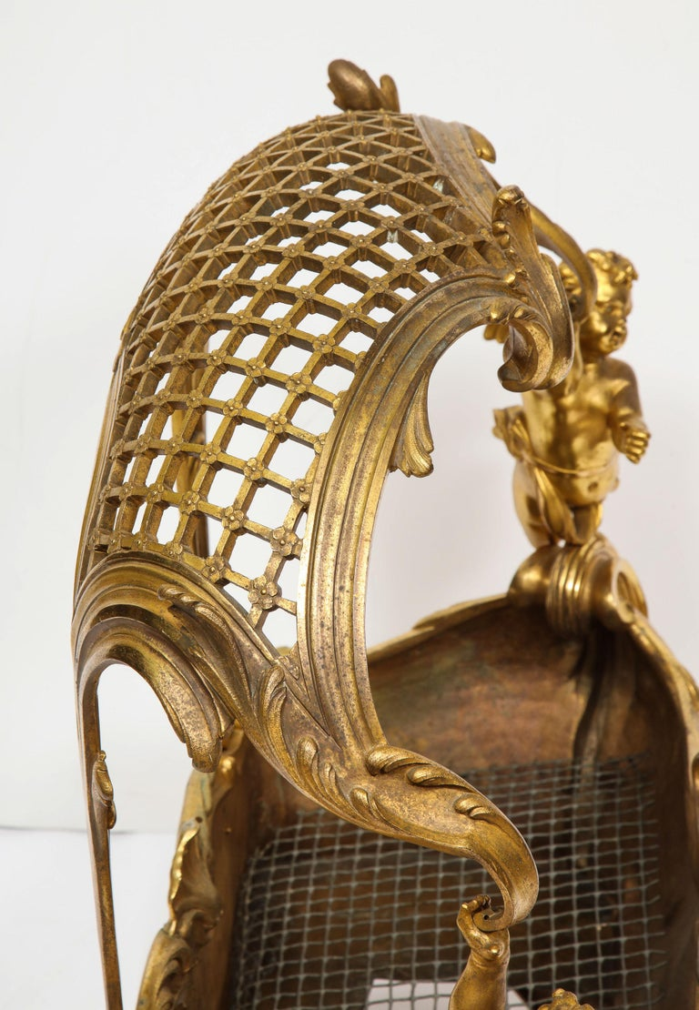 Exceptional Napoleon III French Ormolu Fireplace Log Cradle Holder, Centerpiece For Sale 4