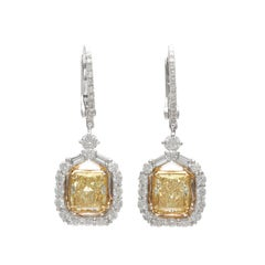 Exceptional Natural Yellow Diamond Drop Italian Earrings