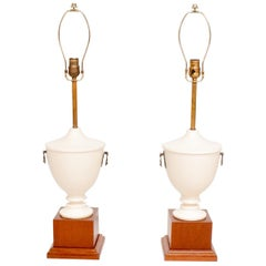Exceptional Neoclassical Urn Table Lamps White Mahogany & Bronze Mexico 1940s