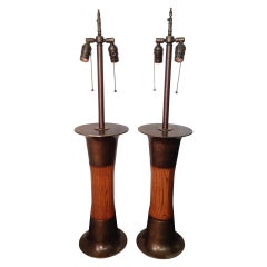 Exceptional Oak and Patinated Brass Modernist Lamps, Pair