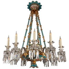 Exceptional Opal Glass Chandelier by Baccarat