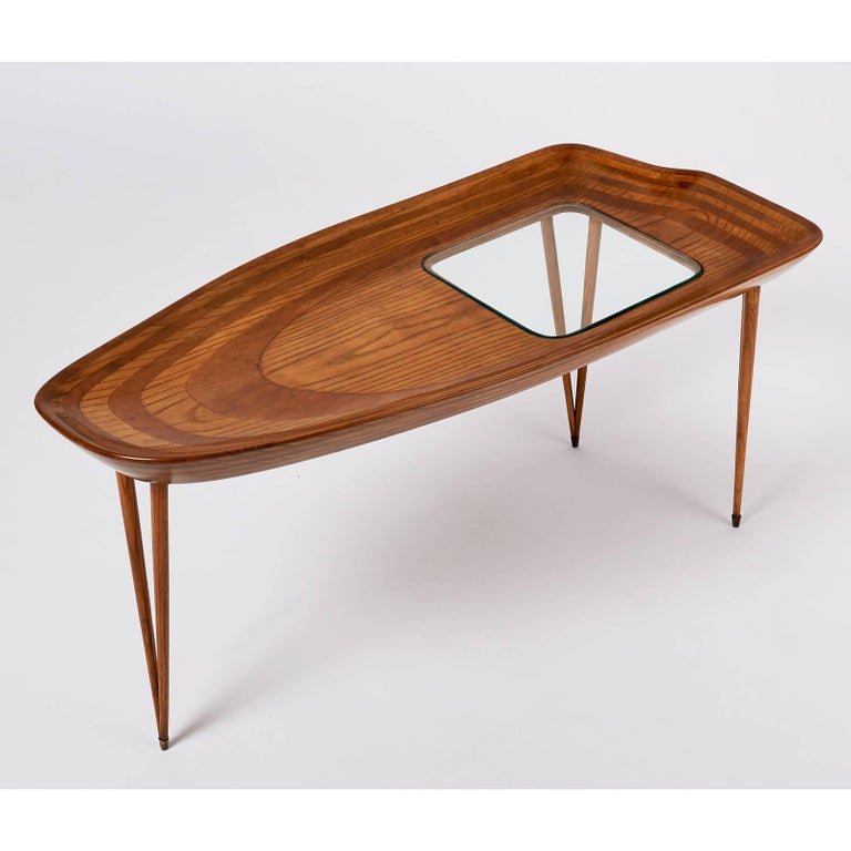 Mid-Century Modern Exceptional Organic Coffee Table in Laminated Oak, Italy, 1950s For Sale