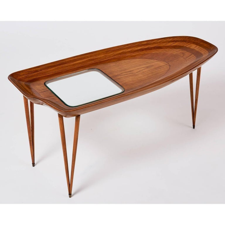 Exceptional Organic Coffee Table in Laminated Oak, Italy, 1950s In Excellent Condition For Sale In New York, NY