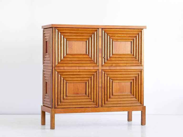 Scandinavian Modern Exceptional Oscar Nilsson Oak Cabinet, Sweden, 1940s For Sale