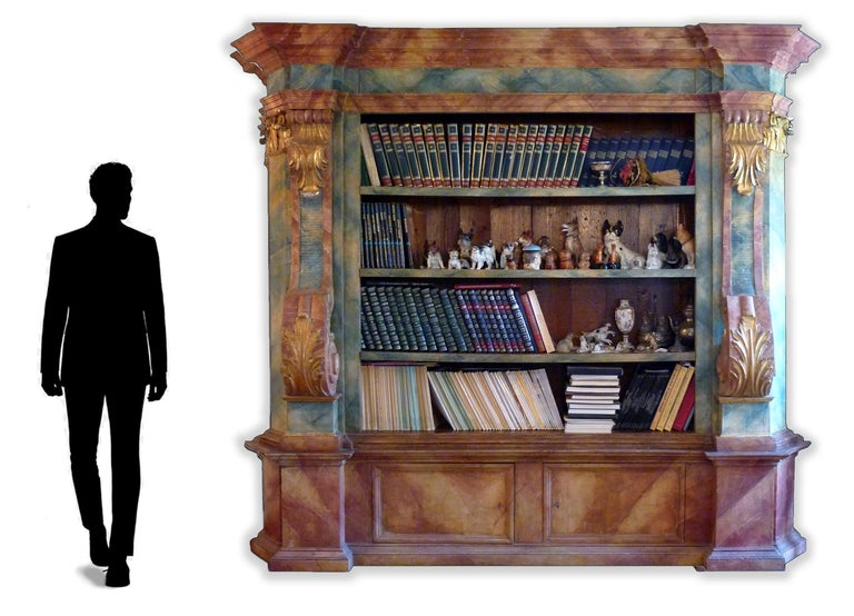 Exceptional Painted Bookcase with Gold Leaf Carvings For Sale 2