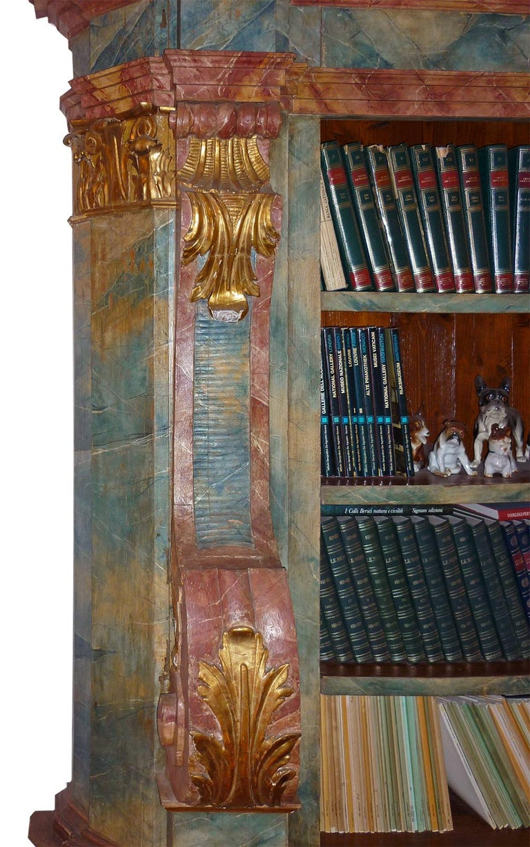Folk Art Exceptional Painted Bookcase with Gold Leaf Carvings For Sale