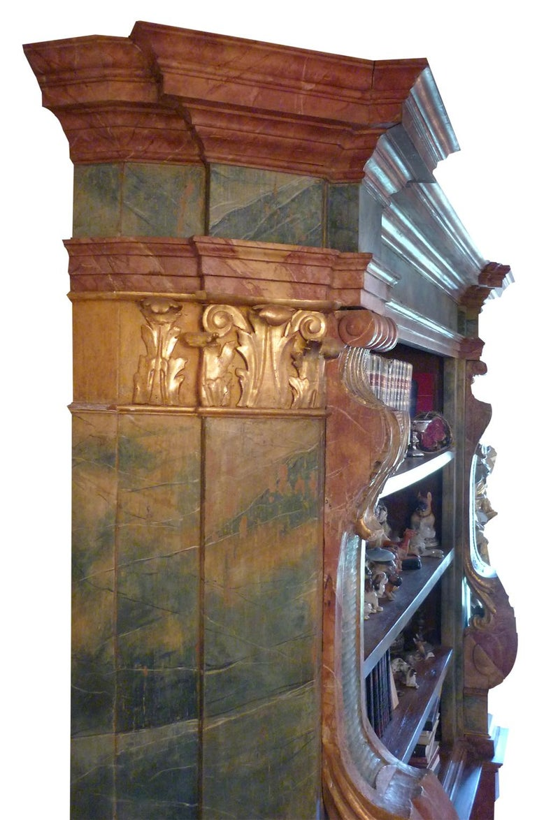Exceptional Painted Bookcase with Gold Leaf Carvings For Sale 1