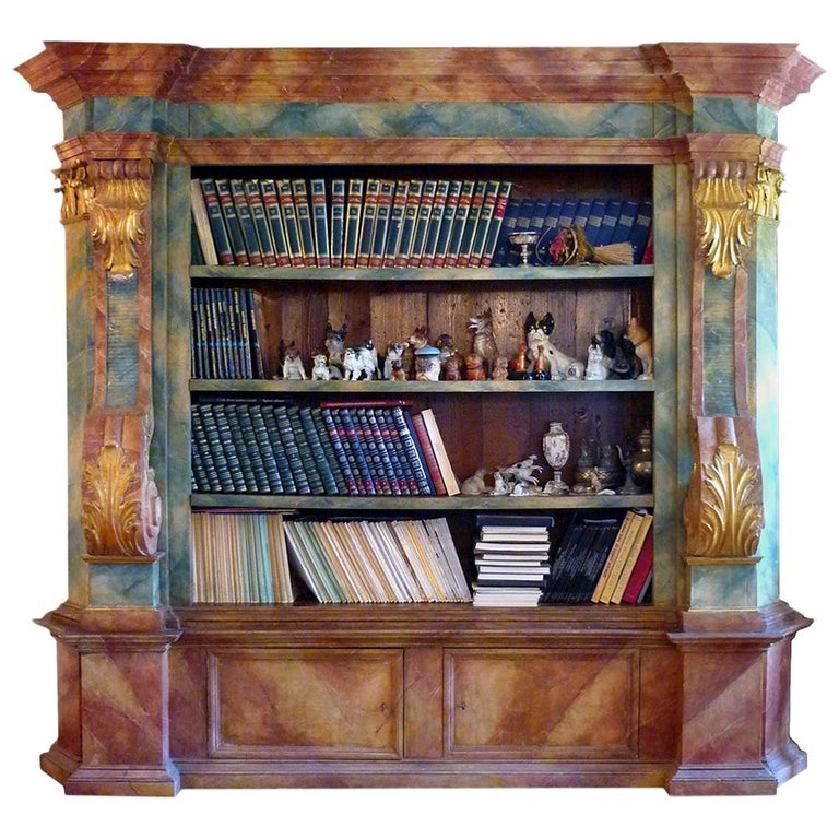 Exceptional Painted Bookcase with Gold Leaf Carvings For Sale