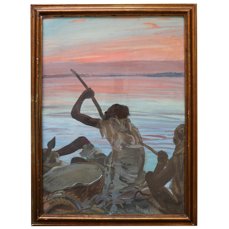 """Exceptional Painting """"Pirogue"""" by Alexander Iacovleff, Black Cruise, 1924 For Sale"""