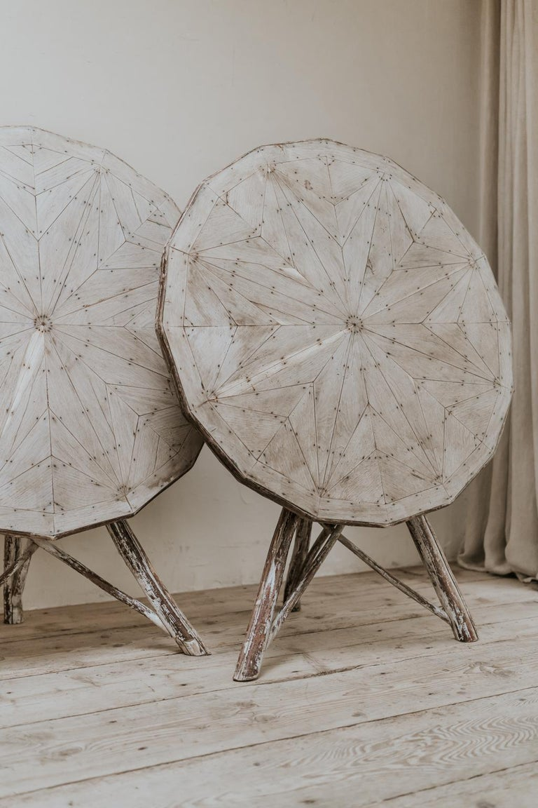 Contemporary Exceptional Pair of 16-Sided Wooden Tables For Sale
