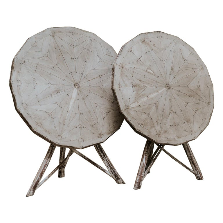 Exceptional Pair of 16-Sided Wooden Tables For Sale