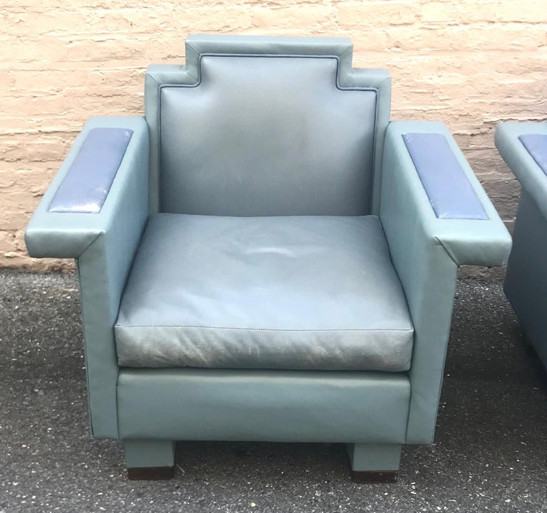 American Exceptional Pair of 1980s Ronn Jaffe Postmodern Leather Lounge Chairs For Sale