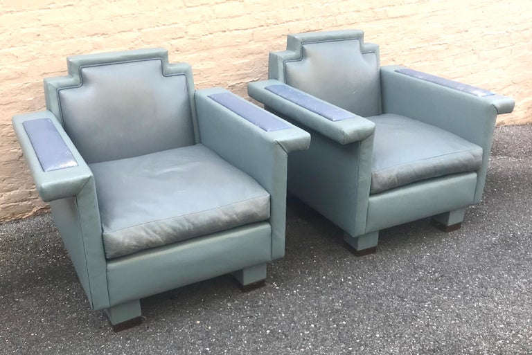 Exceptional Pair of 1980s Ronn Jaffe Postmodern Leather Lounge Chairs In Excellent Condition For Sale In Washington, DC