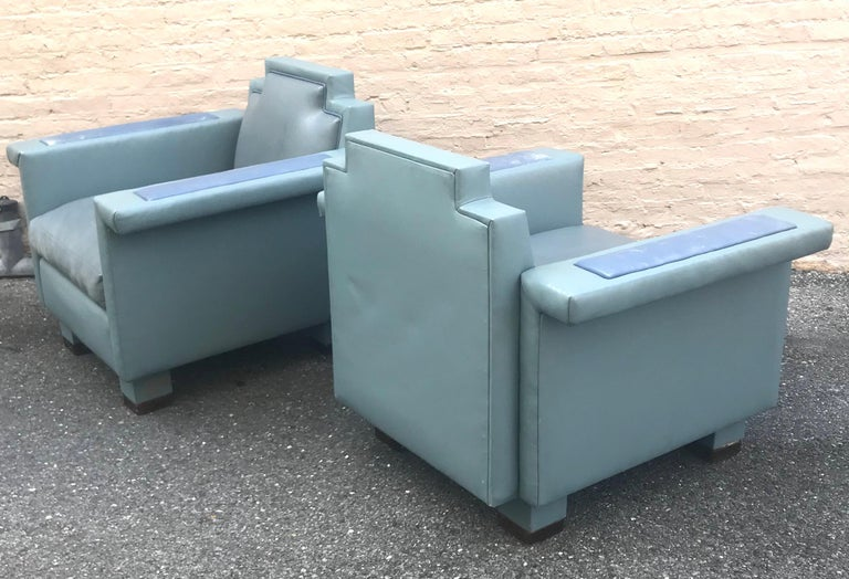 Exceptional Pair of 1980s Ronn Jaffe Postmodern Leather Lounge Chairs For Sale 3