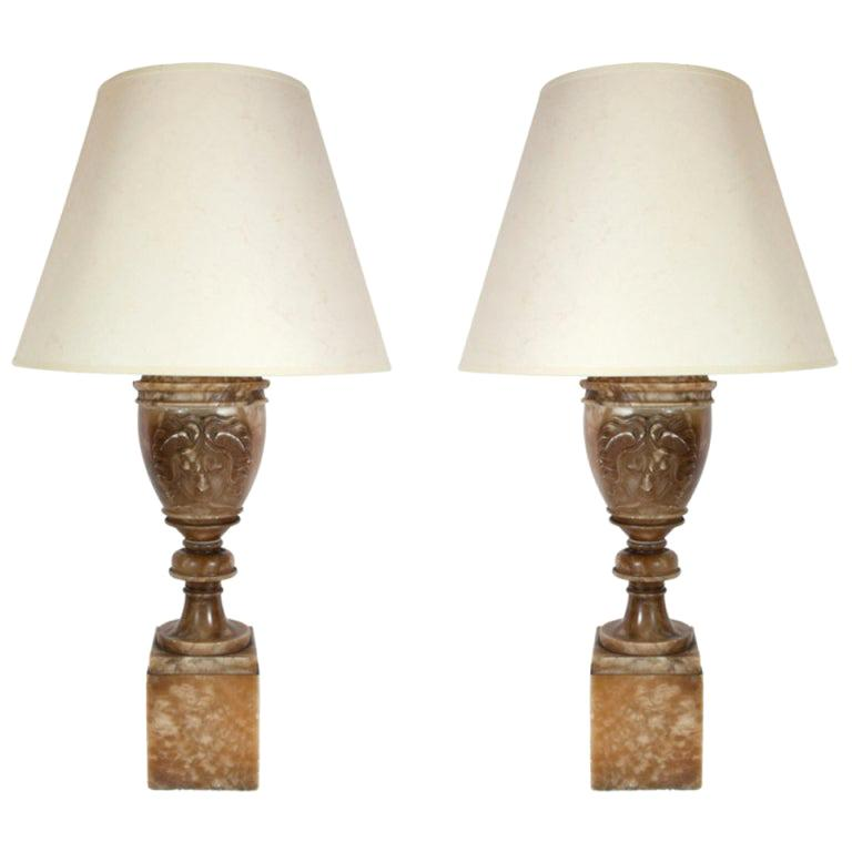 Exceptional Pair of Alabaster Urn Carved 'Medusa' Table Lamps