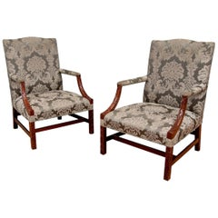 Exceptional Pair of Antique George III Carved Mahogany Library Armchairs