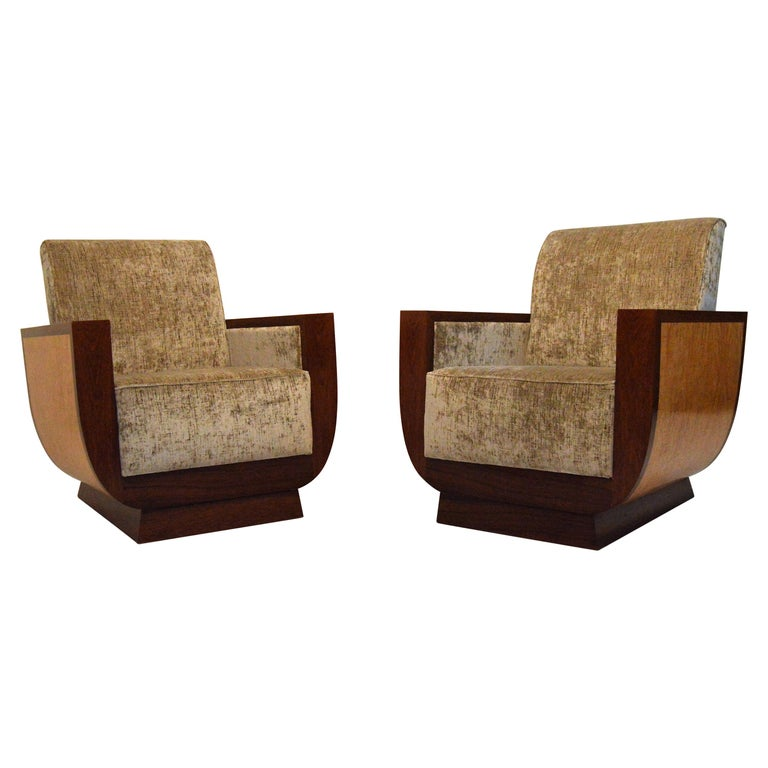 Art Deco Fauteuil.Exceptional Pair Of Art Deco Fauteuils In The Manner Of Dominique
