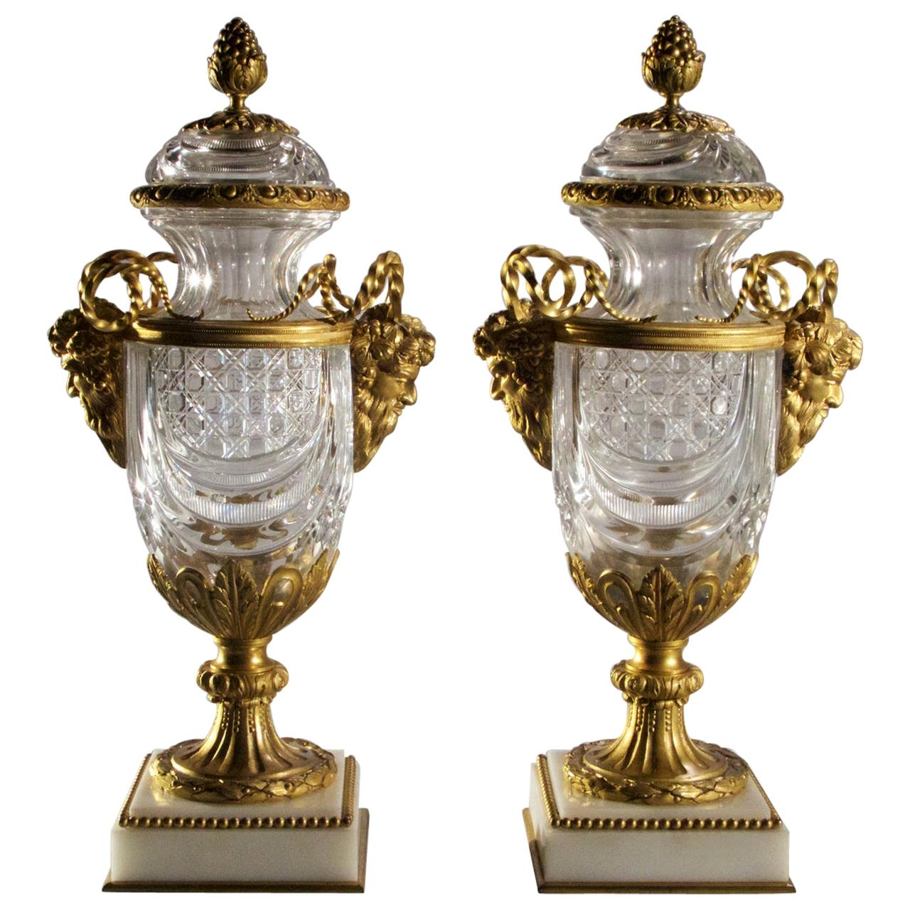 Exceptional Pair of Bronze-Mounted Crystal Vases Surmounted on Marble Base