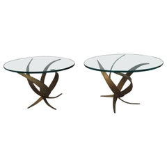 Exceptional Pair of Brutalist Side End Tables by Silas Seandel Midcentury