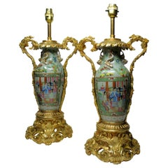 Exceptional Pair of Cantonese Chinese Hand Painted Porcelain Ormolu Table Lamps