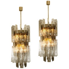 Exceptional Pair of Carlo Nason Chandeliers for Mazzega, 1970s