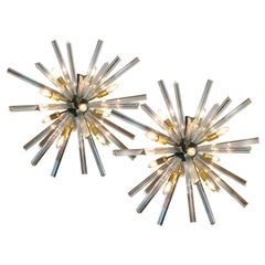 Exceptional Pair of Crystal Prism Sputnik Chandeliers, Murano, 1990