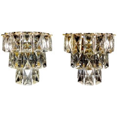 20th Century  Pair of  French Cut and Ground Lead Crystal Sconces.