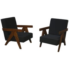 Exceptional pair of Easy Armchairs by Pierre Jeanneret